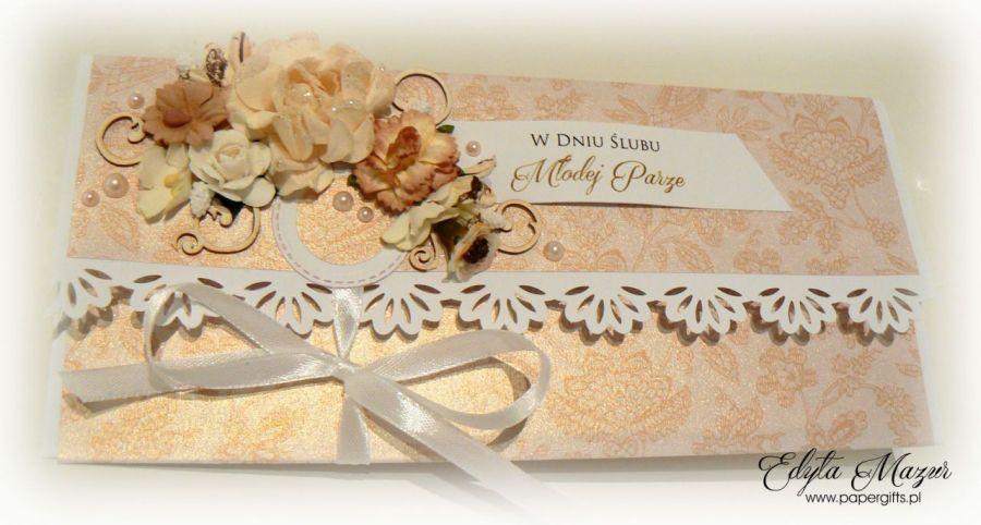 Kartka ślubna złota kopertówka na prezent