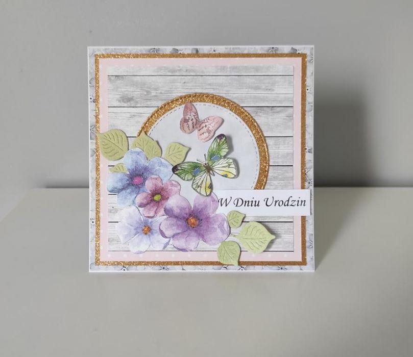 Kartka na Urodziny ręcznie robiona  motylki