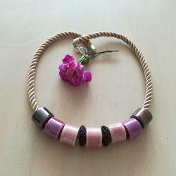 Naszyjnik z ceramiki - róż i fiolet