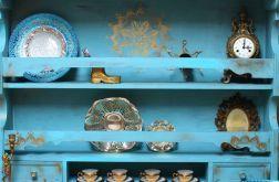 Turkusowa półka, złote dodatki, mandala