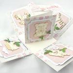 Pudełko, exploding box na roczek dla dziewczynki - exploding box