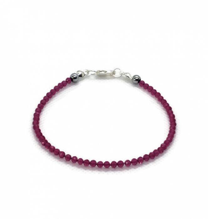 Subtelna bransoletka z naturalnych rubinów - Oryginalna rubinowa bransoletka