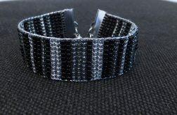 Bransoletka z krosna w kolorach czerń&srebrny