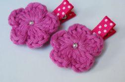 spinki handmade 2 szt. kwiatki szydełkowe3
