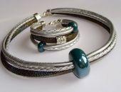 Komplet z ceramiką - srebrny,oliwka,szmaragd