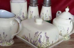 Zestaw ceramicz lawendowy  kremowy