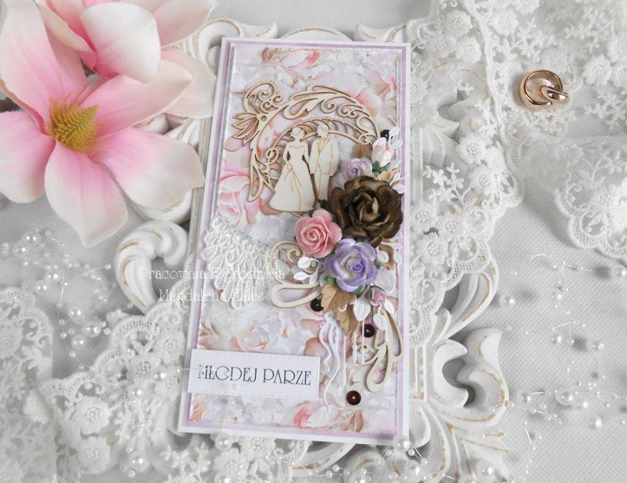 Ślubna kartka DL w pudełku 76