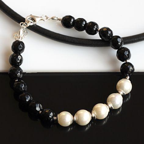 Onyks z perłami bransoletka