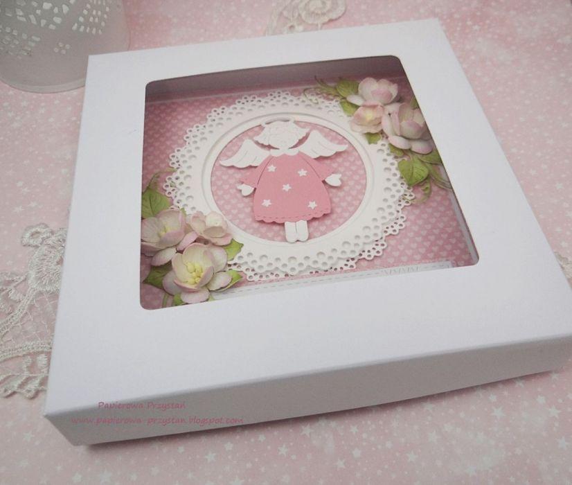 Z małym aniołkiem - kartka z pudełkiem