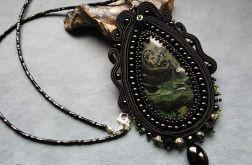 Wisior sutasz  czarno-zielony z jaspisem