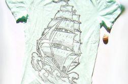 rozmiar L miętowa koszulka żagle