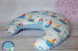 ROGAL do karmienia poduszka fasolka zagłówek - bawełna i Minky - niebieski statki
