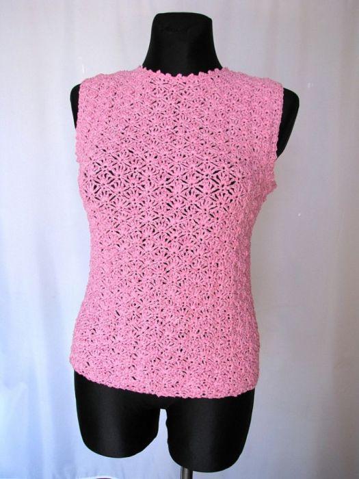 Różowa bluzka bez rękawów -