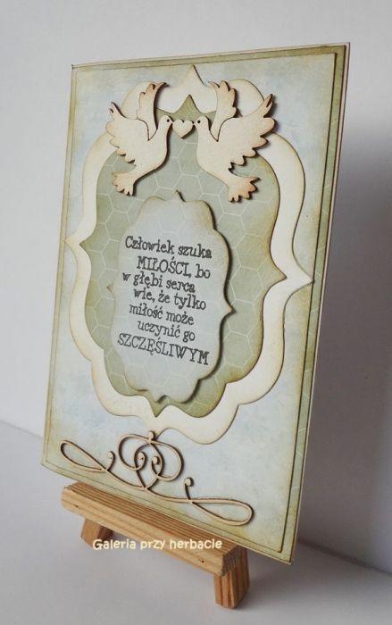 Prosta kartka ślubna mietowo-niebieska