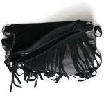 Ciemno brązowa skórzana torba na ramię - torba z frędzlami