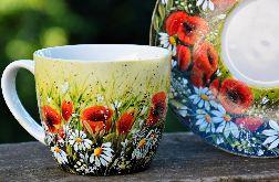 filżanka ze spodkiem-ręcznie malowana- makowa polana