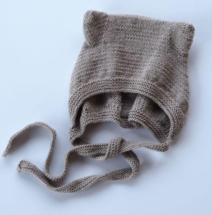 czapeczka bonetka bawełna/merino brąz - null