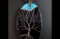 Drzewko Szczęścia wisior z plastrem agatu