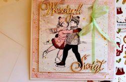 Kartka Świąteczna - Para na łyżwach