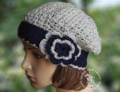 beret/ czapka   z kwiatkiem 2