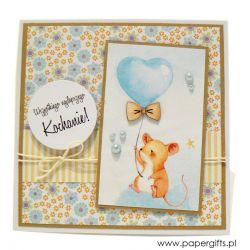 Kartka na urodziny dziecka myszka z balonem