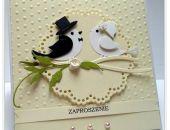 Zaproszenie ślubne -ptaszki na gałęzi wzór