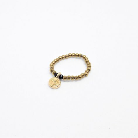 Pierścionek elastyczny z hematytów złoty 2