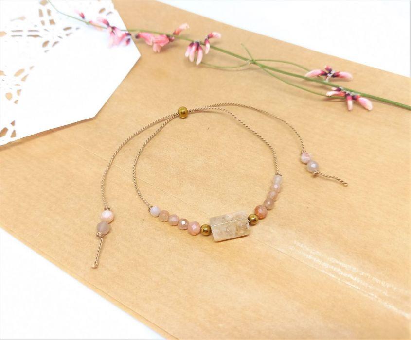 Kamień słoneczny i różowy opal bransoletka