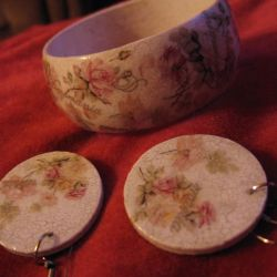 Komplet biżuterii decoupage