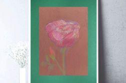 Rysunek kwiat na ciemnozielonym tle nr 5