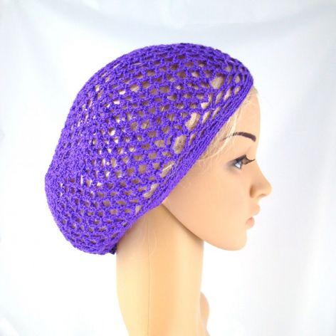 fioletowa plażowa siatka na włosy