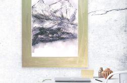 czarno biały rysunek Szkic górski nr 16