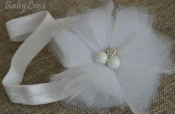 opaska biały kwiatek z tiulu