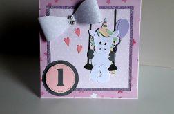 Kartka na Roczek dla dziewczynki jednorożec 5