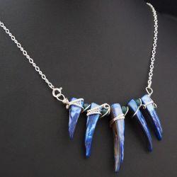 Masa perłowa srebrny wisior, niebieski