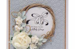 Kartka ślubna wianek z obrączkami - szara