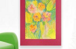 Rysunek kwiaty na bordowym tle nr 12 szkic