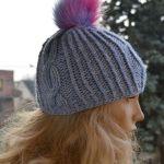 Ciepła czapka z pomponem - ciepła wełniana czapka