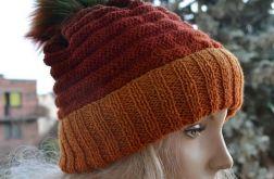 Kolorowa czapka 100% wełna z pomponem
