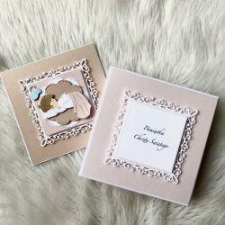 Kartka na Chrzest Święty w pudełku pink