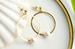 Kolczyki Duże Koła Z Naturalną Perłą Srebro 925 Pozłacane