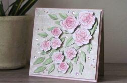 Róże akwarelowe - kartka okolicznościowa