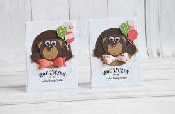 Komplet dwóch kartek urodzinowych z miśkami