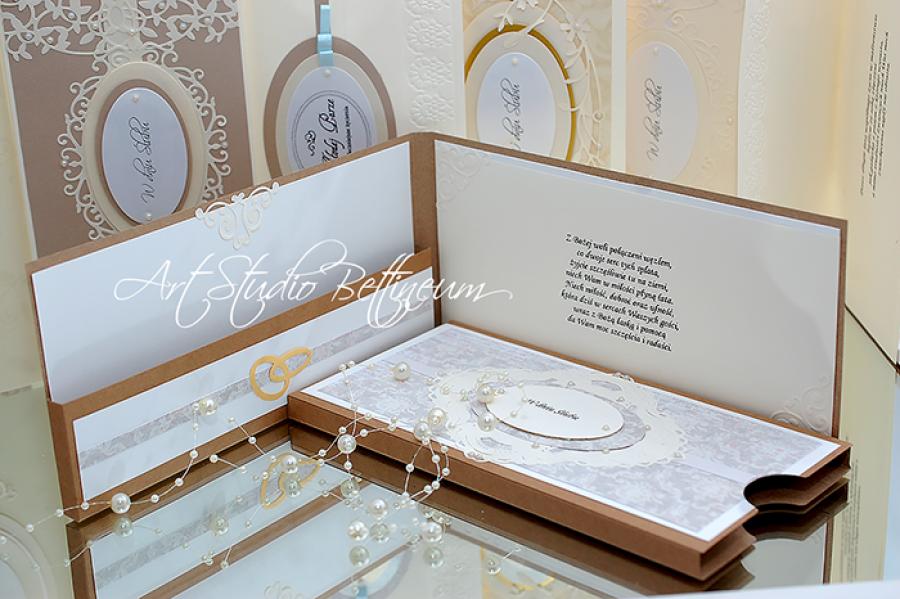 Karta ślubna No. 4 - Karta ślubna. Wykonana ręcznie. W delikatnych kolorach. Rozmiar 21,5 cmx10,5cm