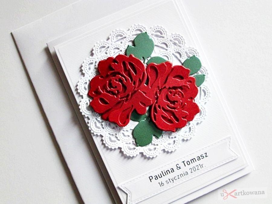 Kartka Ślubna - czerwone róże
