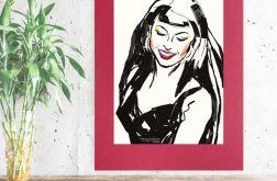 pop art plakat z dziewczyną na bordowym tle