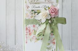 Komplet ślubny w zieleni i różu