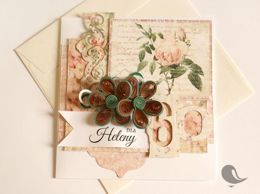 Kartka urodzinowa z oryginalnymi kwiatkami