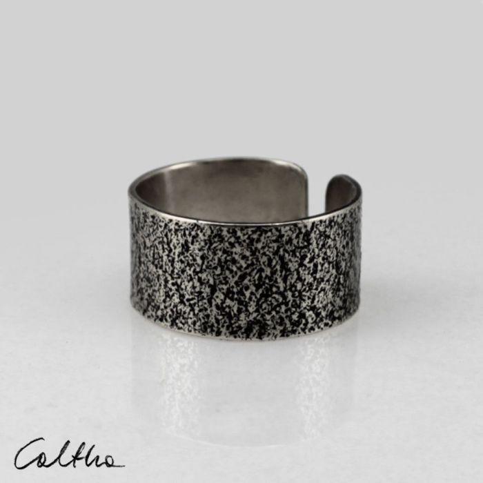 Piasek - srebrna obrączka 130620-08 - Regulowany pierścionek