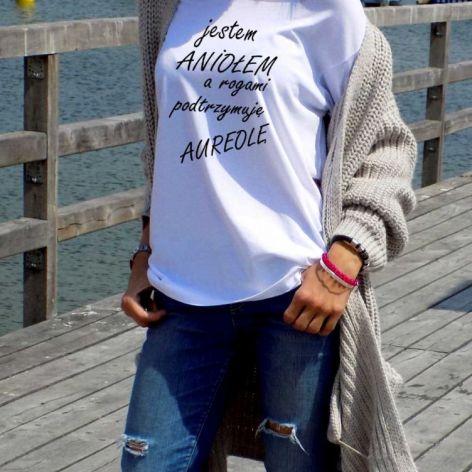 """t-shirt luźny """"JESTEM ANIOLEM A ROGAMI..."""""""